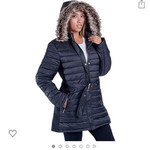 Navy blue Sherpa lined women's coat